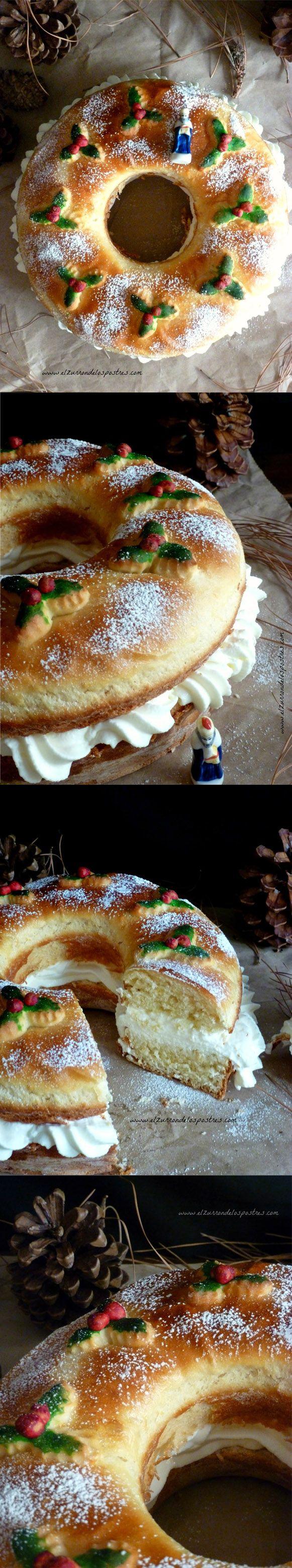 Roscón de Reyes relleno de nata / http://www.elzurrondelospostres.com/