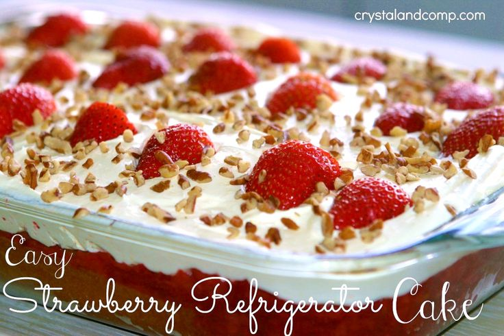 Strawberry Refrigerator Cake Recipe - Ingredients: 1 Duncan Hines Supreme Strawberry Cake Mix Ingredients Listed on Back of Cake Box (egg, water, oil) 2 (10 oz) boxes of Frozen Strawberries in Syrup 1 cup of cold milk 1 (3.5 oz ) box o...