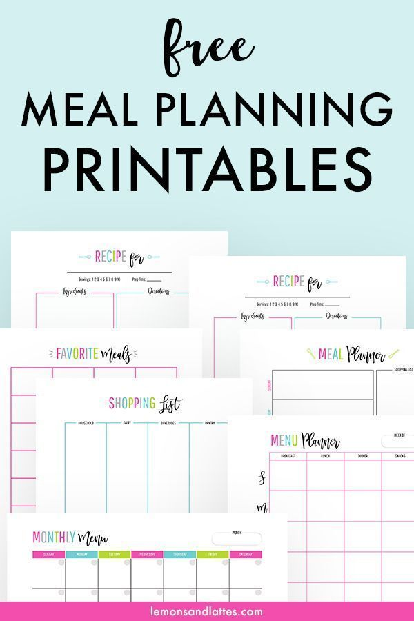 10 Menu Planning Printables That Will Save You Time And Money Meal Planner Template Free Meal Planning Printables Meal Planning Printable Monthly