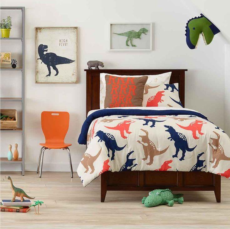 Boys bedroom ideas - a fun way to design a boys room.  Dinosaur themed.