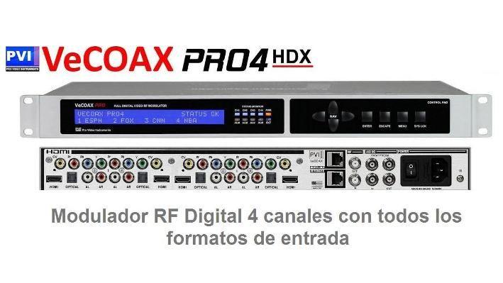 Modulador HD Vecoax Pro4 HDX 4 entradas HDMI video compuesto componentes salida coaxial RF CATV
