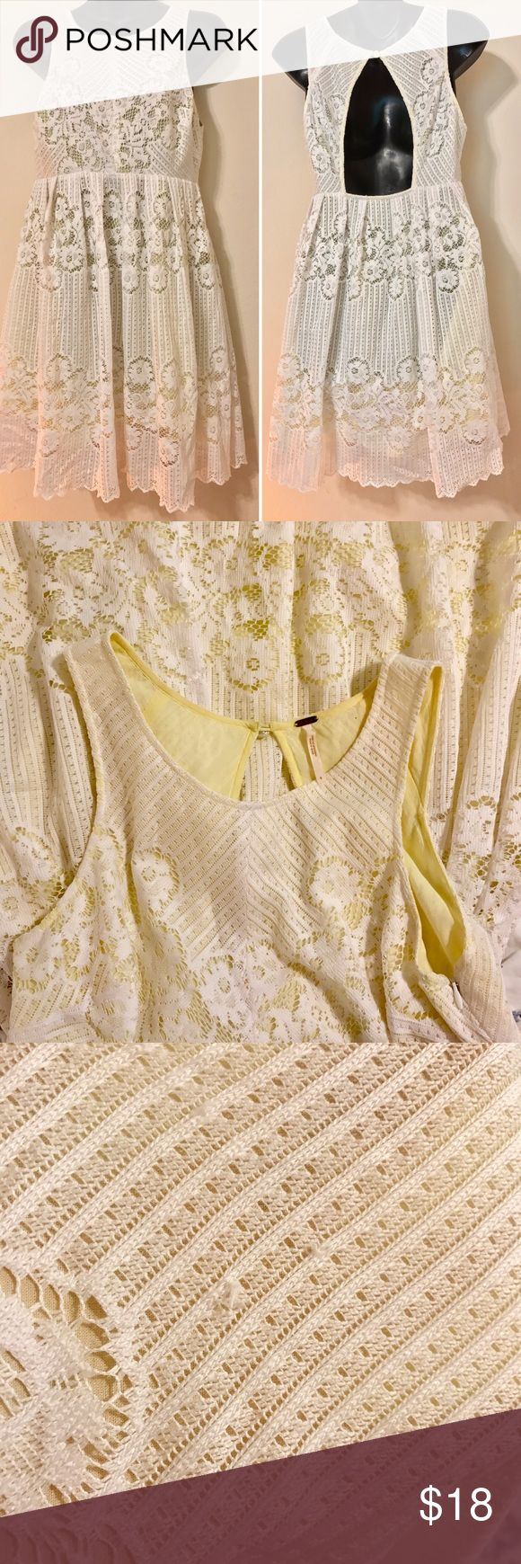 """FREE PEOPLE WHITE YELLOW LACE DRESS BACK CUTOUT FREE PEOPLE SIZE 6 WHITE YELLOW LACE DRESS BACK CUTOUT SLEEVELESS FESTIVAL BOHO LACE HAS A FEW MINOR SNAGS. SEE PICS. DOES NOT AFFECT OVERALL LOOK OF THE DRESS. MEASUREMENTS LYING FLAT ARMPIT TO ARMPIT 18"""" WAIST 15"""" LENGTH 34"""" Free People Dresses Mini"""
