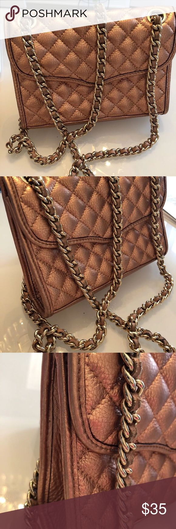 Rebecca minkoff metallic shoulder/crossbody bag Gently used crossbody / shoulder bag rose gold pink. All sales final, please see all pictures and ask questions in advance. payment due withIn 3 days, PayPal only. Thanks for looking! Rebecca Minkoff Bags Crossbody Bags