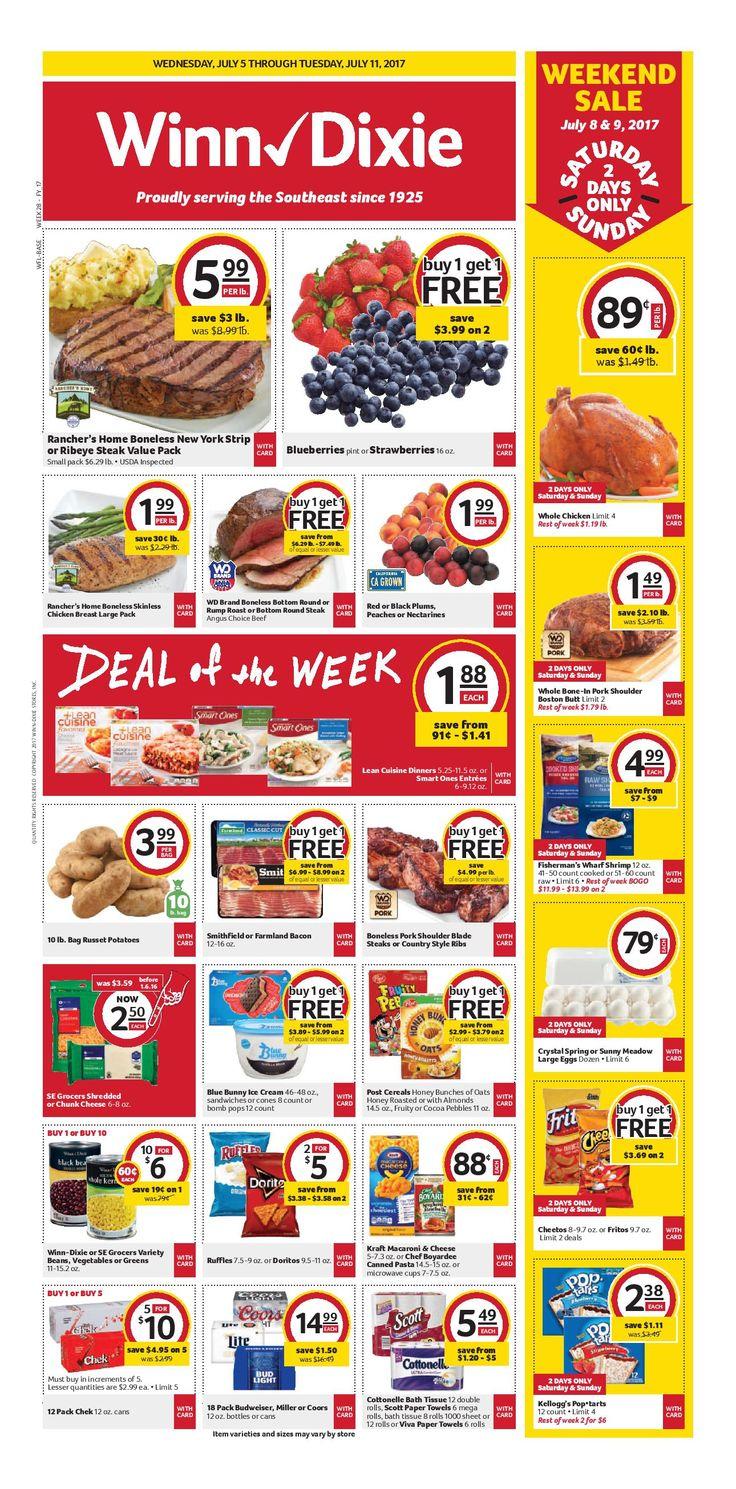 Winn Dixie Weekly Ad July 5 - 11, 2017 - http://www.olcatalog.com/grocery/winn-dixie-weekly-ad.html