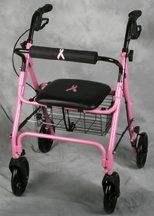 "Breast Cancer Awareness Rollator Breast Cancer Awareness Rollator by Medline. Save 16 Off!. $120.00. Qty Is: 1 CS Which contains: 1 Each / Case; 1 Retail Inner Pack / Case; 1 Retail Outer Pack / Case; Product Weight = 1. Breast Cancer Awareness Rollator. MEDLINE INDUSTRIES MDS86825BC. NOTE: Product may be an accessory to the image displayed above.. Breast Cancer Awareness Rollator . Comfortable padded seat - 13.5"" wide x 14"" deep with loop brakes - pull to stop, push to lock. Height…"