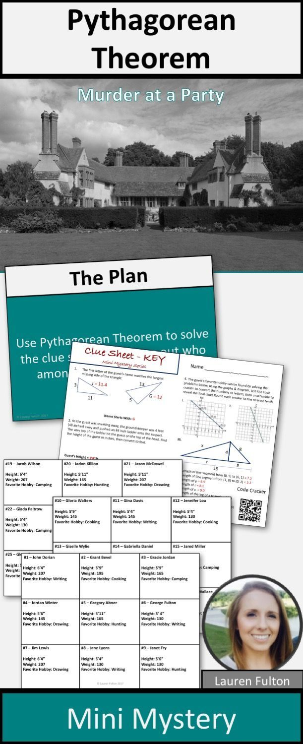 Pythagorean Theorem Murder Mystery Activity! In this activity, students solve pythagorean theorem problems to solve a murder mystery!