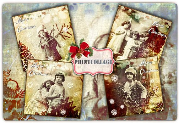 Tags Printable Collage Sheet for Coasters Greeting by PrintCollage