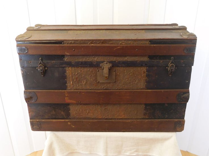 Floral Stamped Metal Steamer Trunk Late 19th Century Dome