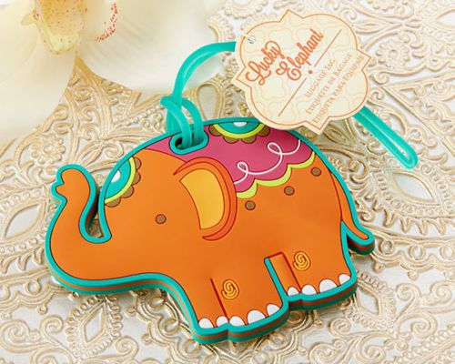 Teal Orange Asian Lucky Elephant Luggage Tag Birthday Bridal Wedding Favors http://stores.ebay.com/Lotus-Flower-Weddings-and-Events