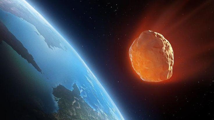 Vue d'artiste d'un astéroïde sur une trajectoire de collision avec la Terre.