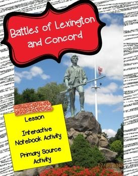 """This freebie is a small piece of my large unit: Road to Revolution: The Colonies Unite- An Active, Engaging UnitUse this freebie to engage your students in learning about the Battles of Lexington and Concord. Contents: * Lesson* Interactive Notebook Timeline Activity* Primary Source Analysis Activity* Please note: The location of the """"Shot Heard 'Round the World"""" is disputed."""