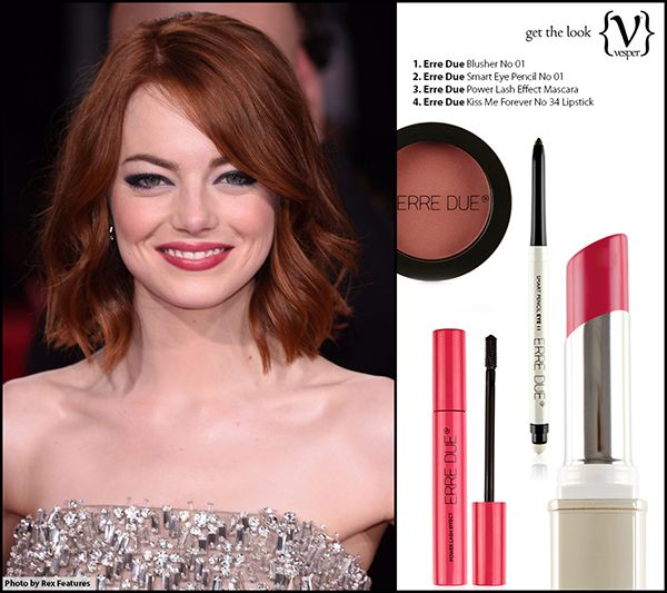 Get The MakeUp Look - Emma Stone - Golden Globe Awards with Erre Due Products  http://vesper.gr/s/get-the-look-emma-stone/