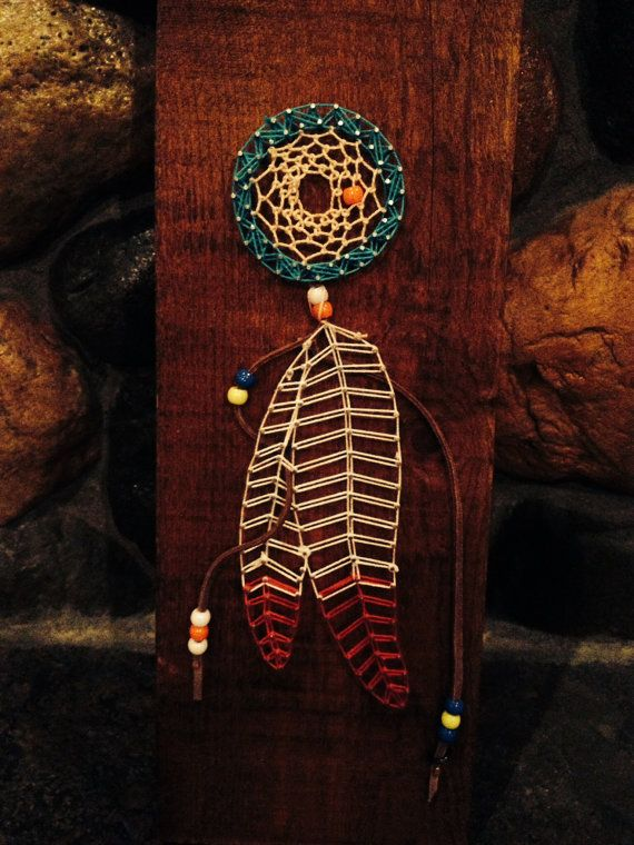 Dream catcher with feathers string art by marshratt on for What do dreamcatchers do
