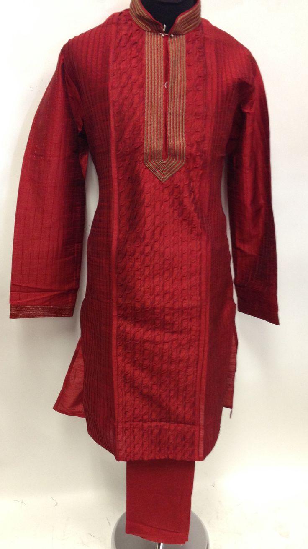 Silk Readymade Men's Kurta with Churidar - Red