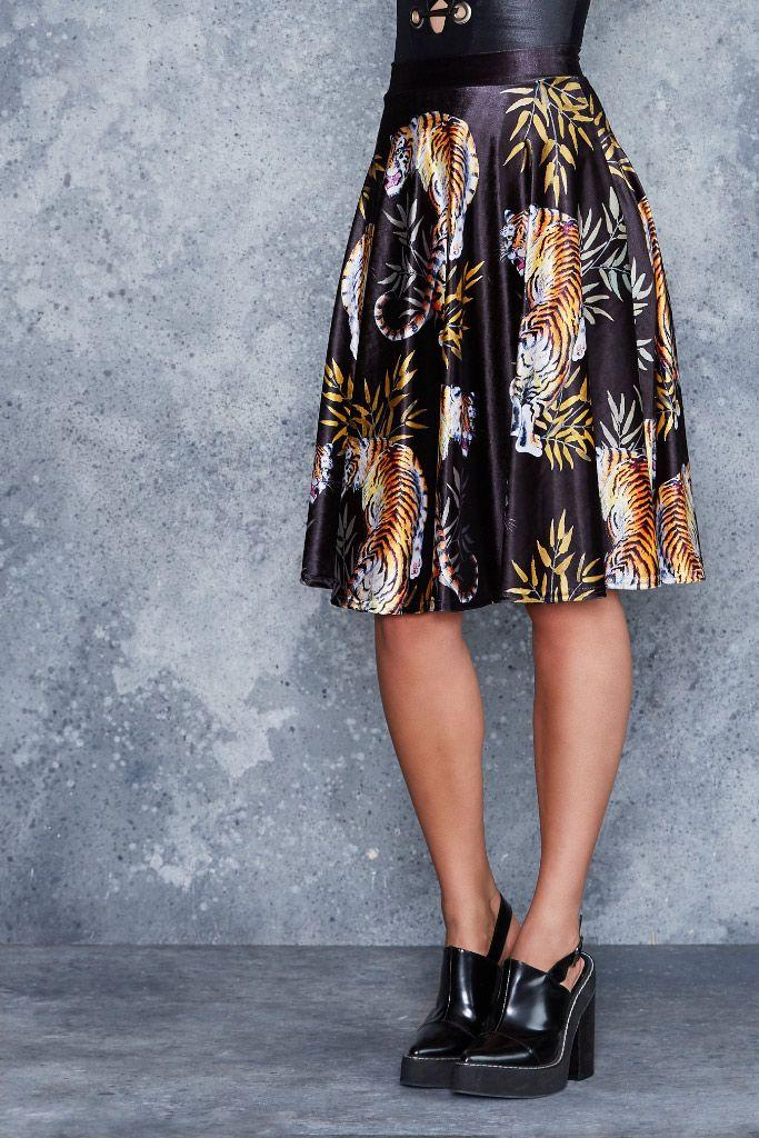 Prowler Velvet Midi Skirt - CAPPED PRESALE ($110AUD) by BlackMilk Clothing