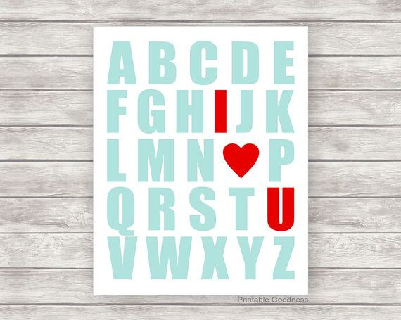 Nursery Printable Aqua and Red Alphabet Kids by PrintableGoodness