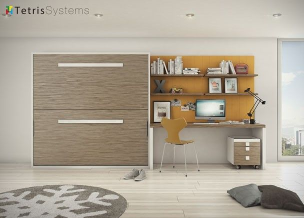 Litera abatible horizontal con escritorio y estantes for Litera escritorio debajo