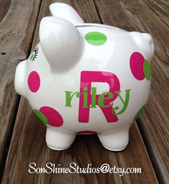 Personalized Piggy Bank Baby Gift Polka Dots by sonshinestudios