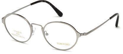 Tom Ford Round Metal Eyeglasses, Gray/Black