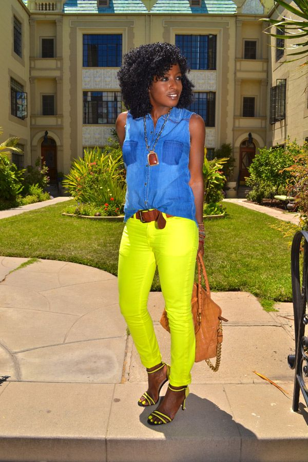 Style Pantry | Denim, Sleeveless Shirt; Neon Yellow Jeans; Neon Yellow Heels