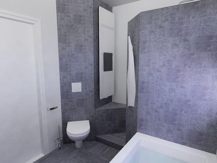 Modern badkamerontwerp met grijs witte tegels en fraaie designradiator / wandcloset / inloopdouche combinatie