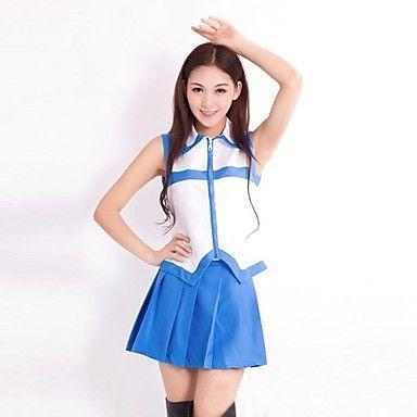 geinspireerd door Fairy Tail Lucy Heartfilia Anime Cosplay Kostuums Cosplay Kostuums Patchwork Wit / Blauw Mouwloos Vest / Rok…