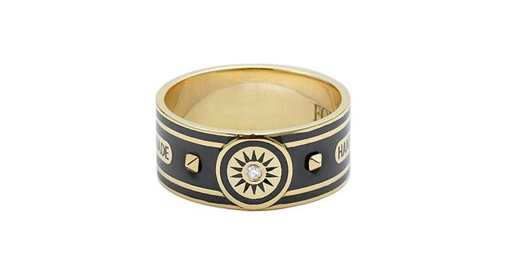"The ""Dream Cigar Band"" by Foundrae in 18-karat gold, enamel and diamond ($2,650)"