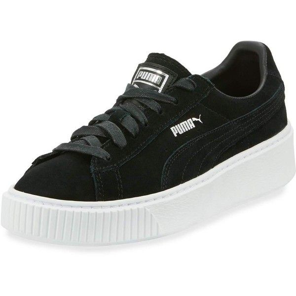 Puma Suede Platform Lace-Up Sneaker ($60) ❤ liked on Polyvore featuring shoes, sneakers, black, black platform sneakers, black trainers, perforated sneakers, black lace up sneakers and suede shoes