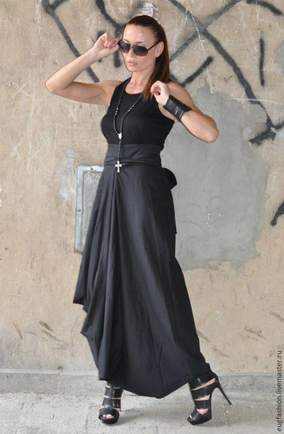 Купить Черная, длинная юбка - черный, однотонный, юбка в пол, юбка длинная, юбка летняя