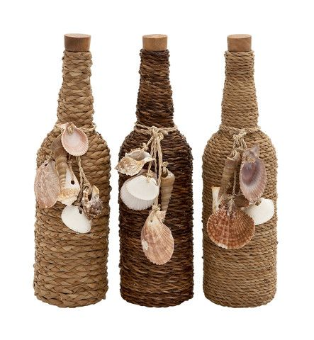 "Set 3 Glass Message Bottle 14"" Sea Shell Twine Rope Ocean Beach Nautical Decor"