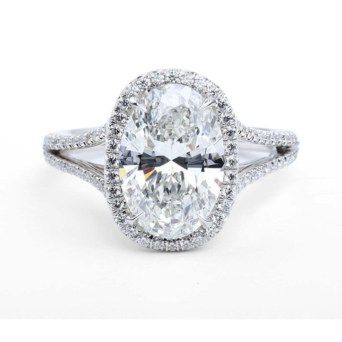 Brides.com: Engagement Rings with Large Center Stones. The Center of My Universe split shank 3.78 carat oval-cut ring set in platinum, price upon request, Premier Gem for Forevermark  See more oval-cut engagement rings.
