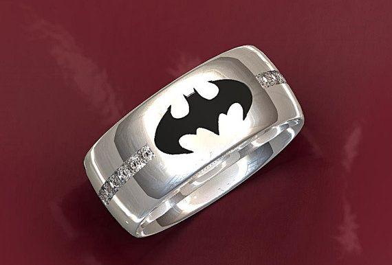 Batman Wedding Ring by ValeriaFineJewelry on Etsy
