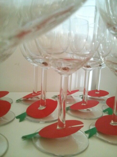 Special Rosh Hashana apple decoration for wine glasses