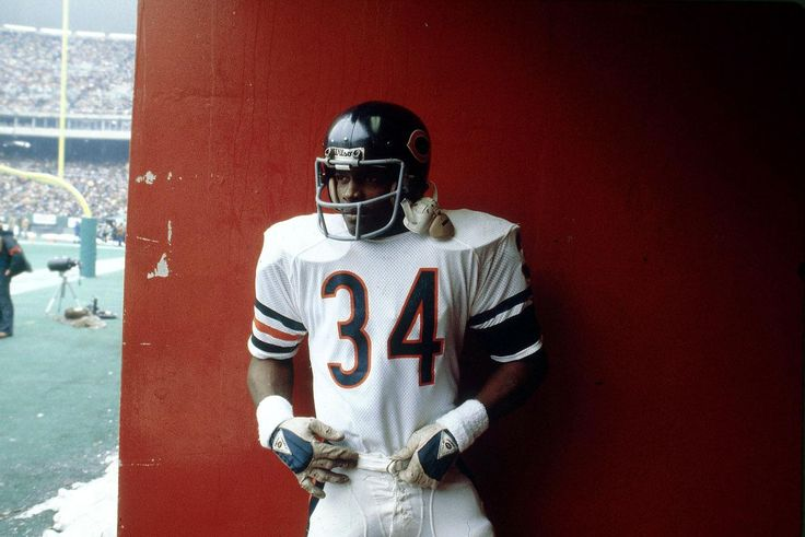 Walter Payton stands in a tunnel before a game in 1980.