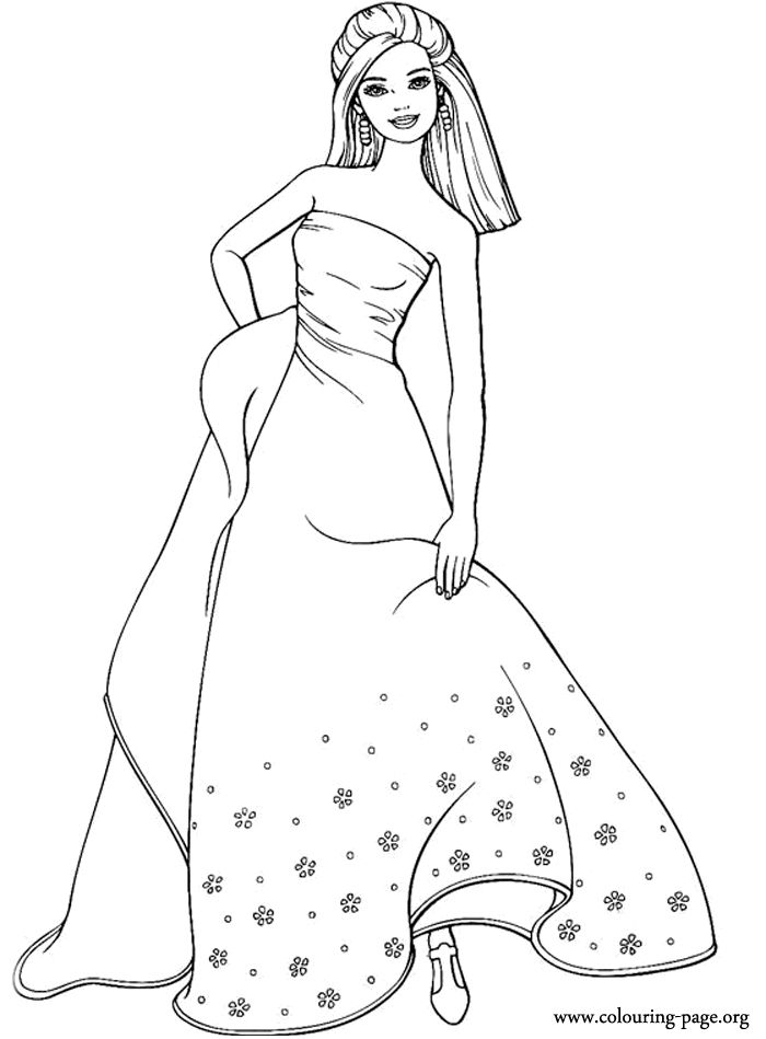 with this long dress barbie is beautiful as always a cute coloring page - Barbie Coloring Pages Print