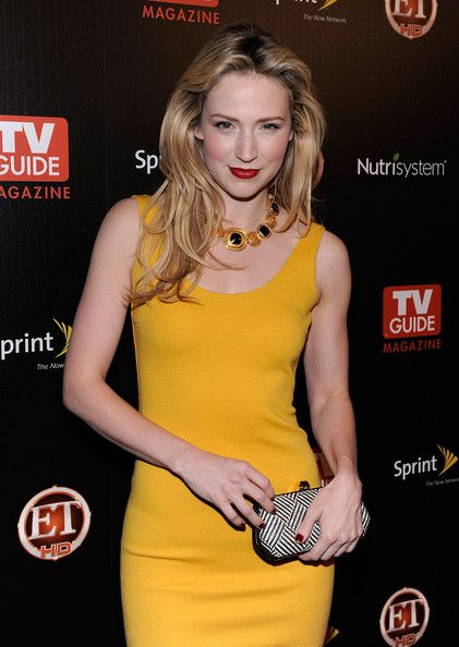Beth Riesgraf looking splendid in mustard yellow