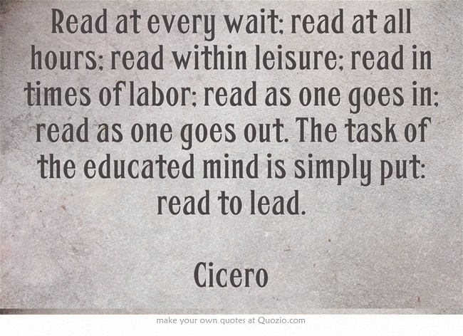 This quote by Cicero is one that Ben and Susanna share with each other along with their passion for reading.
