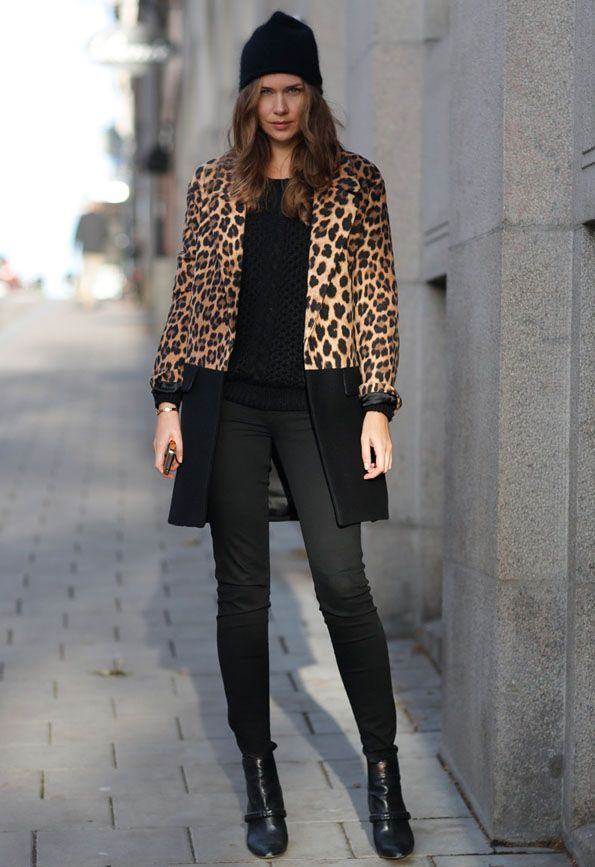 leopard coat, beanie, sweater and boots (pictured: Caroline Bloomst) #streetstyle #fashion