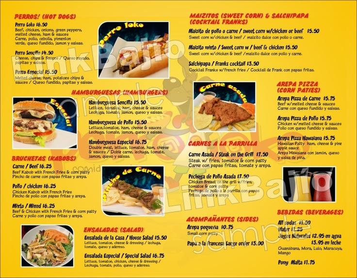 Menú Restaurante Comida Rápida | Link Bajío