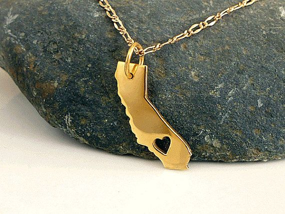 I want this!!!! California Necklace  18K Gold Plated  Gold by PRECIOUSWINGSCOM, $55.00