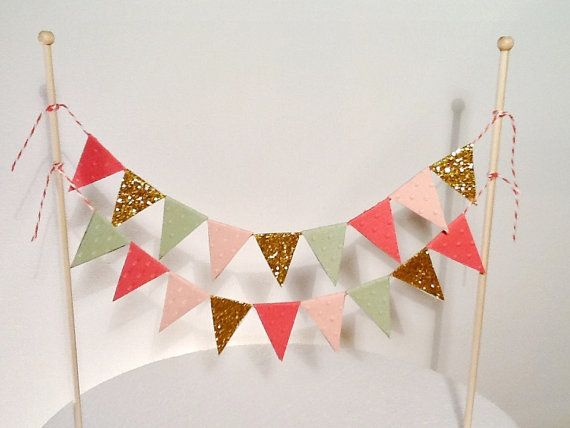 Cake Bunting/Cake Topper Double String of Flags Sundance. Coral, Peach, Melon and Gold Glitter