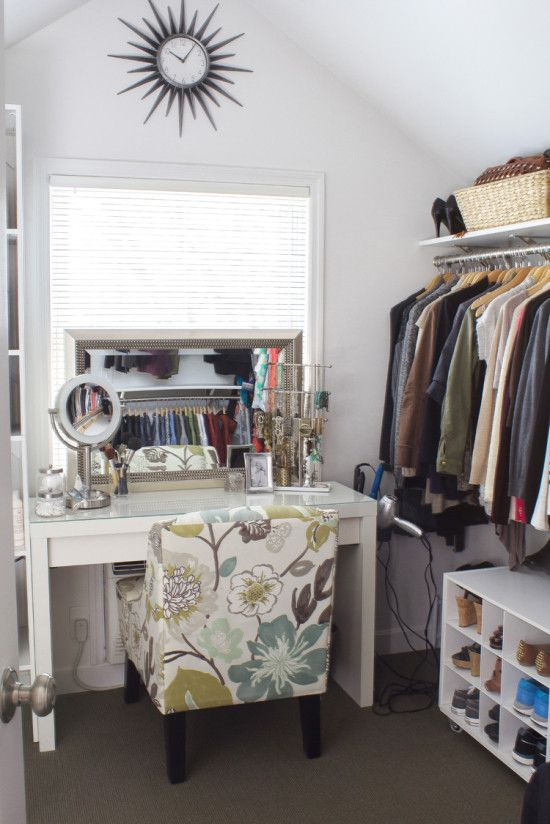 Create simple elegance when you get dressed by creating a shallow vanity with a comfy patterned chair | 5 more Clever IKEA Hacks for your closet