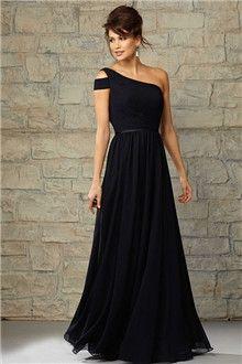 A-Line/Princess One Shoulder Floor-length Chiffon Bridesmaid Dress