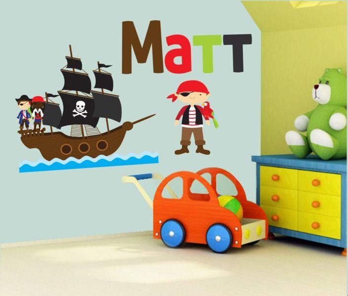 Wandtattoos - Wandtattoo Pirat mit Namen - ein Designerstück von wolga-kunterbunt bei DaWanda