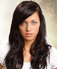 This shiny smooth hairstyle is layered all through the back and sides to lighten the length which falls half way down the back. The side layers add shape to the front of the face and complimented by the long side swept bangs which complete the over-all style perfectly.