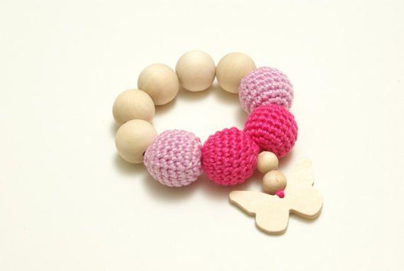 Crochet wood teether  teething ring  crochet wooden beads, #Crochetwoodteether, #teethingring, #pinkwoodteether