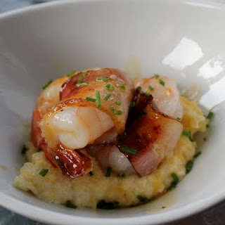 Best grits ever...made with cream cheese. Add bacon wrapped shrimp if you want. Can't wait to try :)
