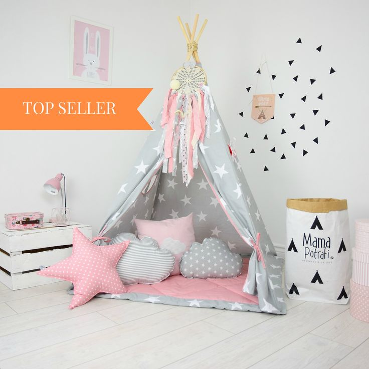 Play Tent, Kids teepee, Kids teepee play tent, tipi, teepee tent, kids teepee tent, teepee for kids- My Imagination[Set with Pillows] by MamaPotrafi on Etsy