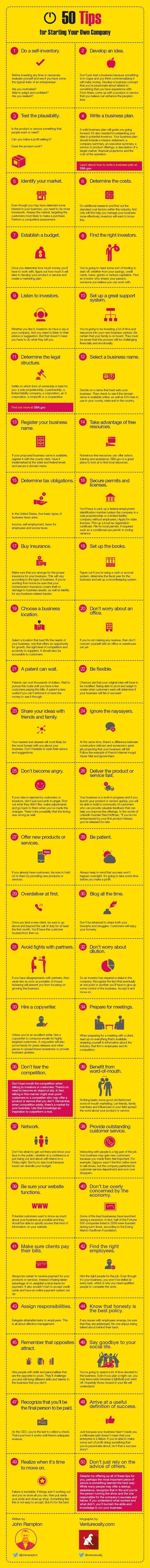 How to Start Your Own Company: 50 tips (infographic)