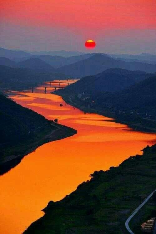 Sunrise over the Orange river, South Africa.
